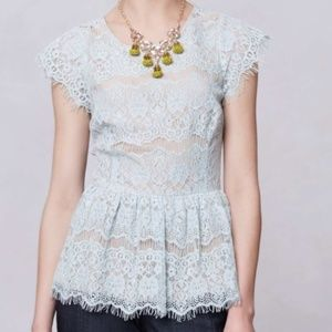 ANTHROPOLOGIE MAEVE BLUE LACE PEPLUM TOP SIZE S